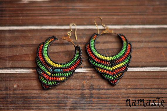 Rasta red gold green earrings, hippie bohemian earrings, boho jewelry, reggae earrings Macrame earrings RASTA LOVE tribal african by Namastejewellery