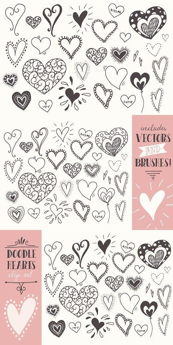 Doodle Hearts Clip Art
