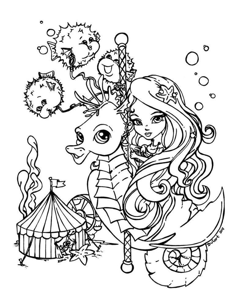 Funfair By Jadedragonne Mermaid Coloring Pages Cute Coloring