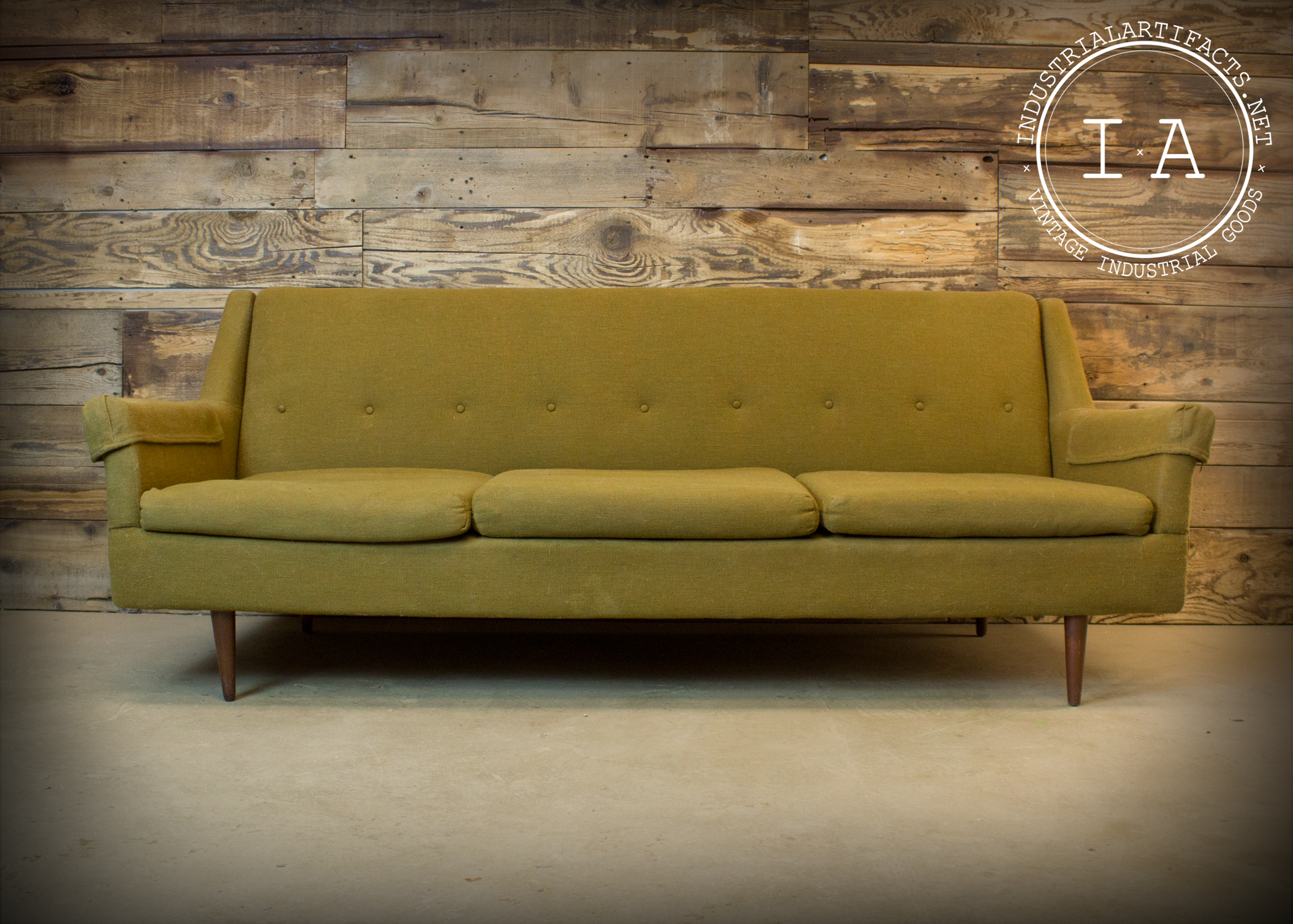 Vintage Industrial Mid Century Modern Green Couch Office ...
