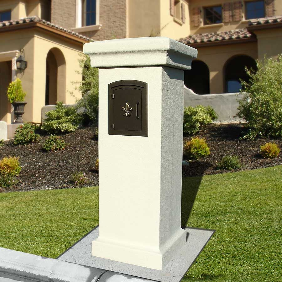 Pre fabricated stucco mailbox column slate gray for Stucco columns