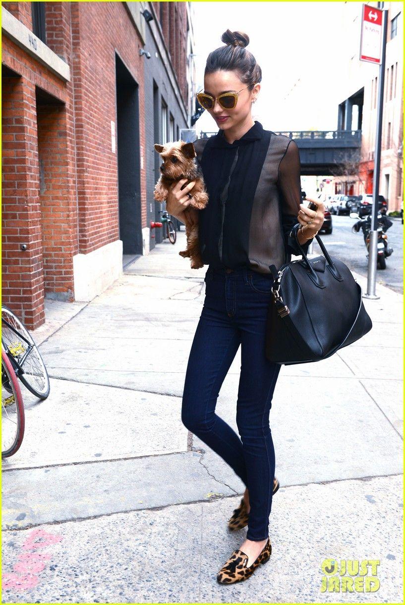 78faffe56828 Miranda Kerr rocks leopard smoking slippers.