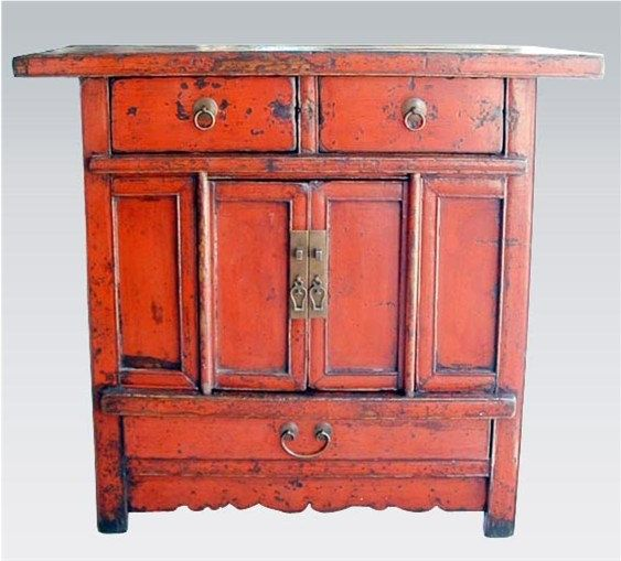 Beautiful Red Lacquered Antique Chinese Asian Chest Cabinet 1800u0027s Interior  Decor Accent For Your Entry,