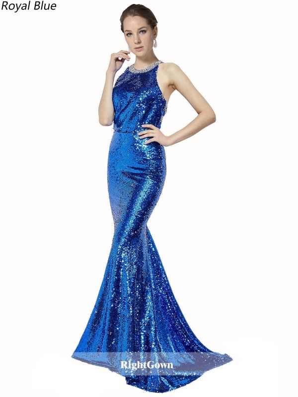 New Style Mermaid Long Sequin Lace Sleeveless Royal Blue Prom ...