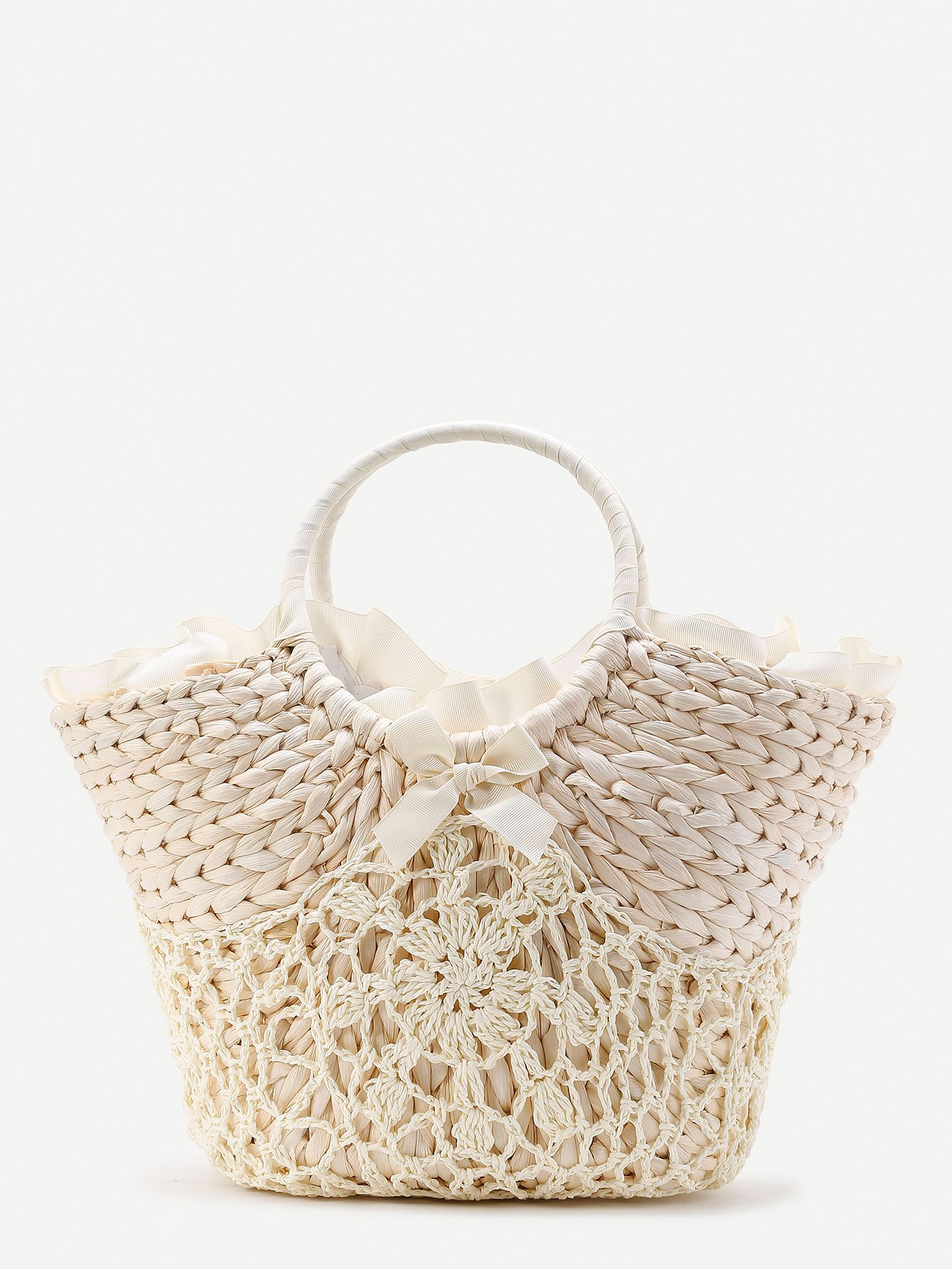 ba1e30a890dbf Shop Beach Style Straw Bag With Crochet Detail online. SheIn offers Beach  Style Straw Bag With Crochet Detail & more to fit your fashionable needs.