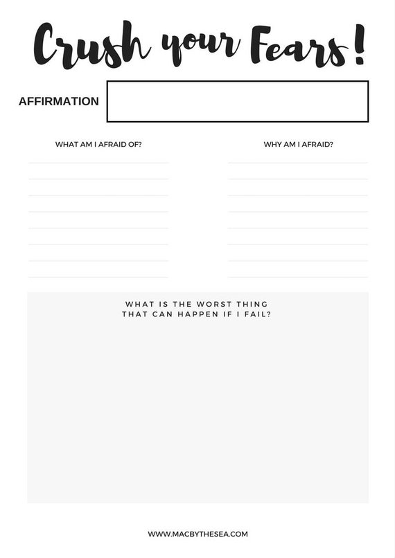 Goal Worksheet, Define your Fears, Worksheet, Goal Planner ...