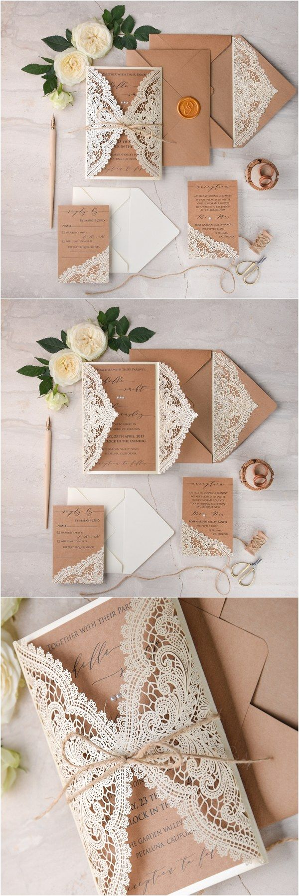 Ivory kraft paper laser cut lace rustic wedding invitations 02lCNz / http://www.deerpearlflowers.com/laser-cut-wedding-invitations/