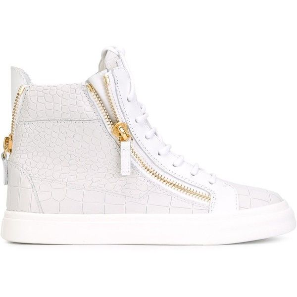 6fbcbc6f32d0b Giuseppe Zanotti Design zip detail hi-top sneakers featuring polyvore,  fashion, shoes, sneakers, white, leather shoes, white leather high tops,  white shoes, ...