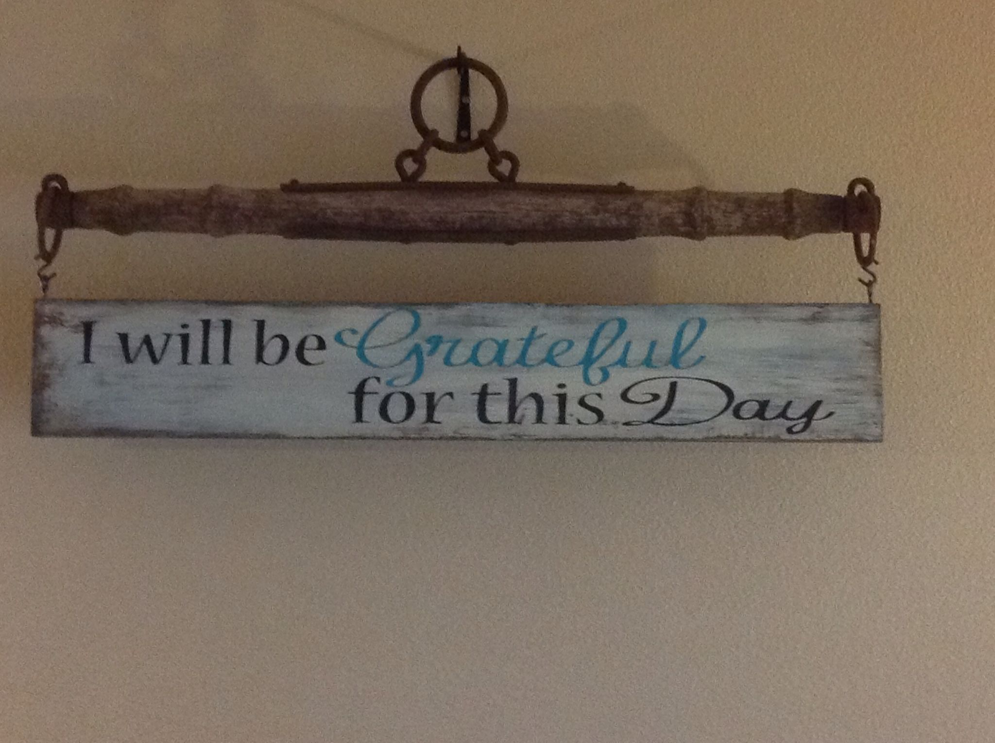 hand painted rustic sign hanging from a singletree i. Black Bedroom Furniture Sets. Home Design Ideas