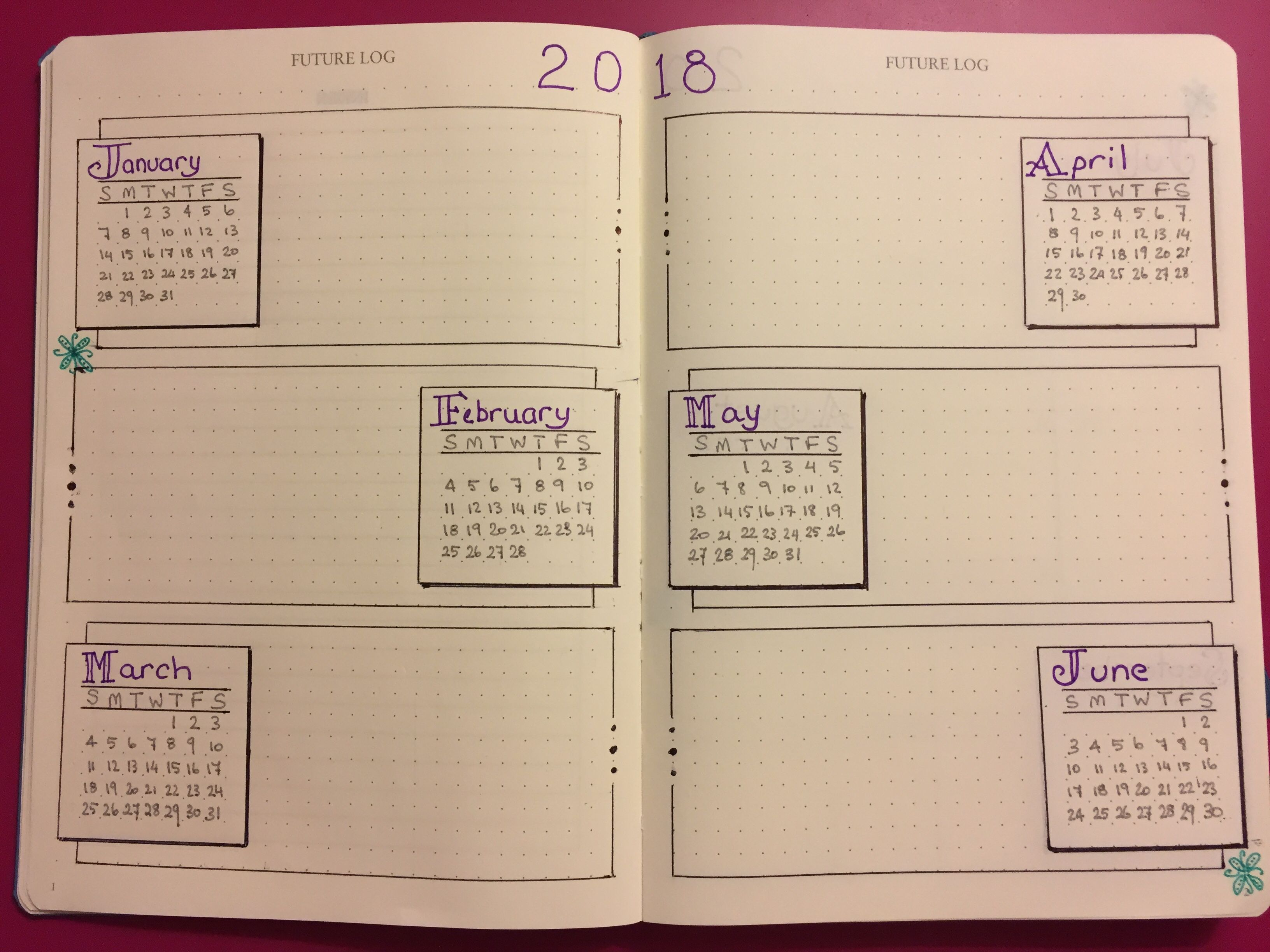 Here S A Future Log Layout Idea 6 Months Across A Double Page