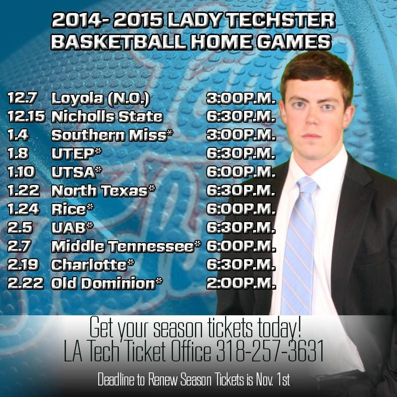 Lady Techster Fans, check out the home schedule for your