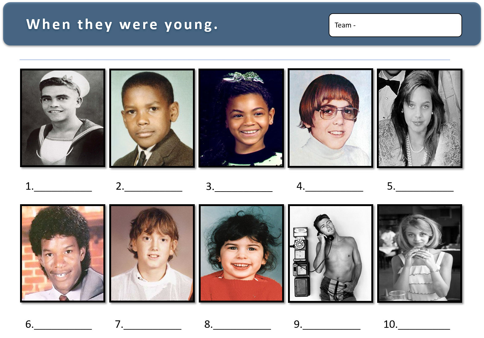 Celebrities as children trivia quiz picture round Trivia
