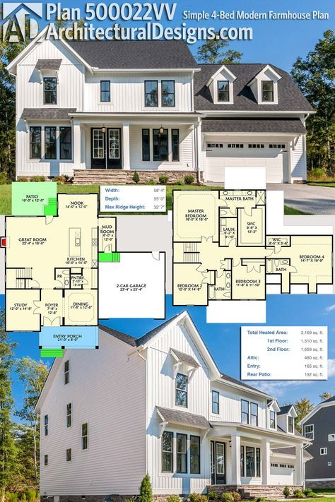 Architectural designs modern farmhouse plan 500022vv is a simple to build home with great curb appeal inside you get 4 bedrooms upstairs and upstairs