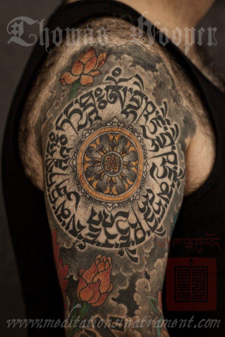 8dced9f82e6bb mandala with tibetan script, thomas hooper | himalayan inspired body ...