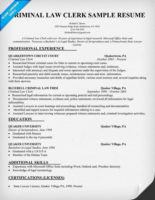 Criminal Law Clerk Resume Sample #Legal (resumecompanion - Pretrial Officer Sample Resume