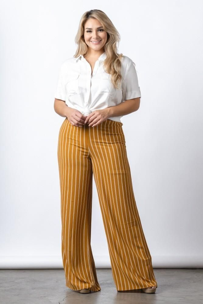 Photo of Plus Size Stripe Full Length Pants