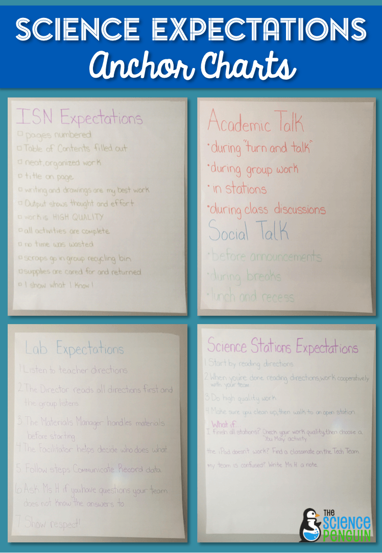 Science Classroom Expectations Anchor Charts | Science Penguin Blog
