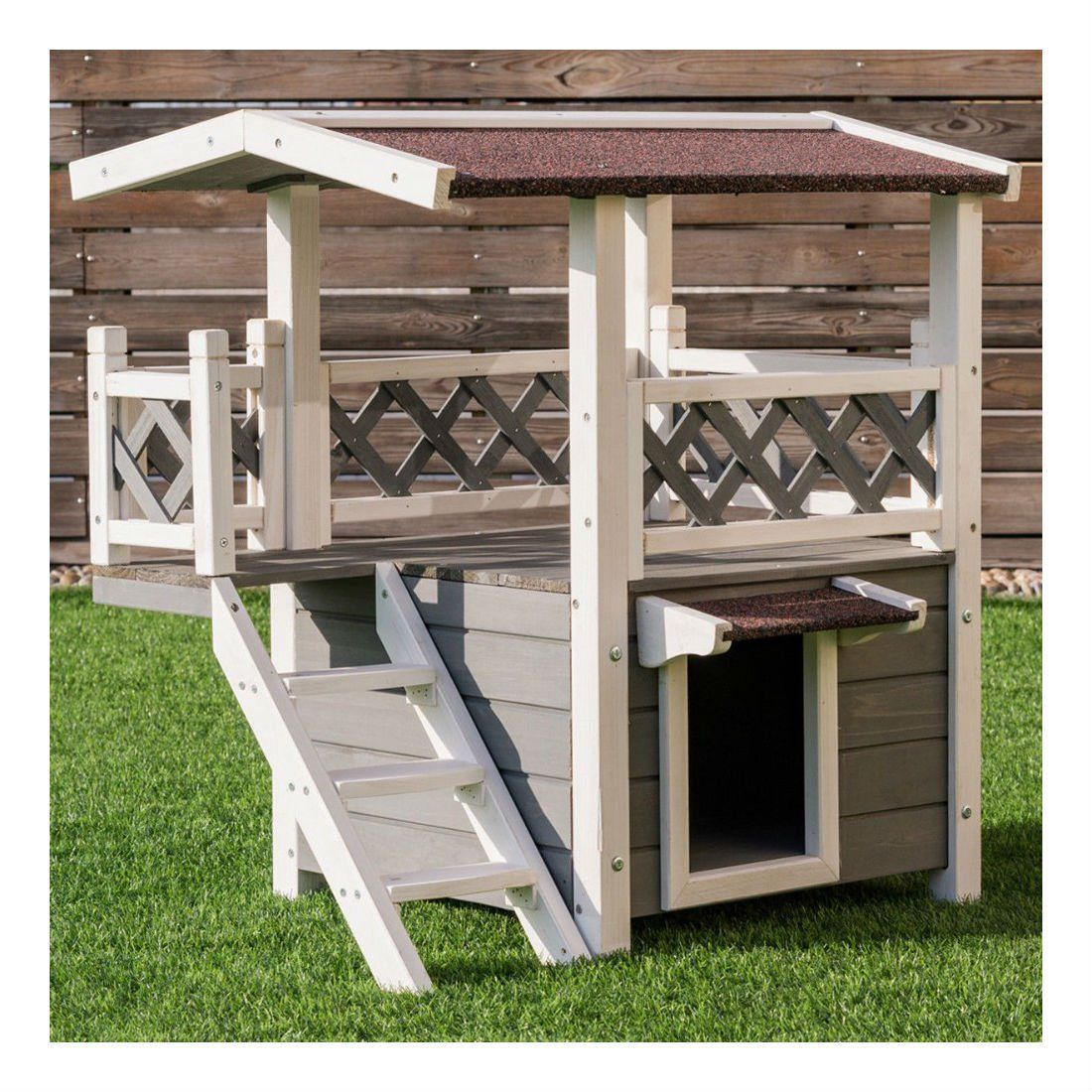 2 Story Outdoor Weatherproof Wooden Cat House Condo Shelter With Ladder Nice Of You To Drop By To Visit Our Wooden Cat House Dog House Diy Outdoor Cat House