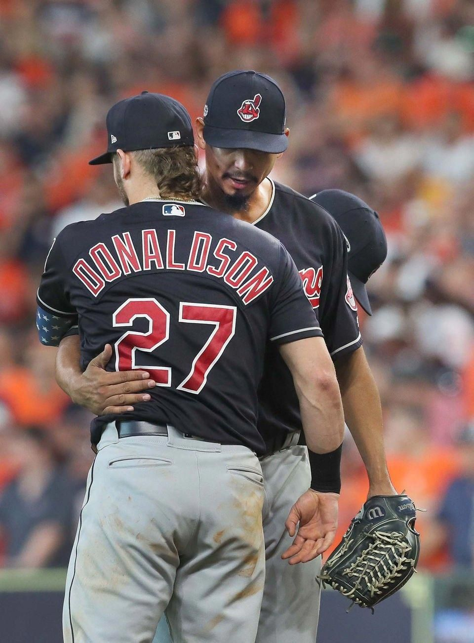 purchase cheap de819 ce9cb Cleveland Indians Carlos Carrasco gets a hug from Josh ...