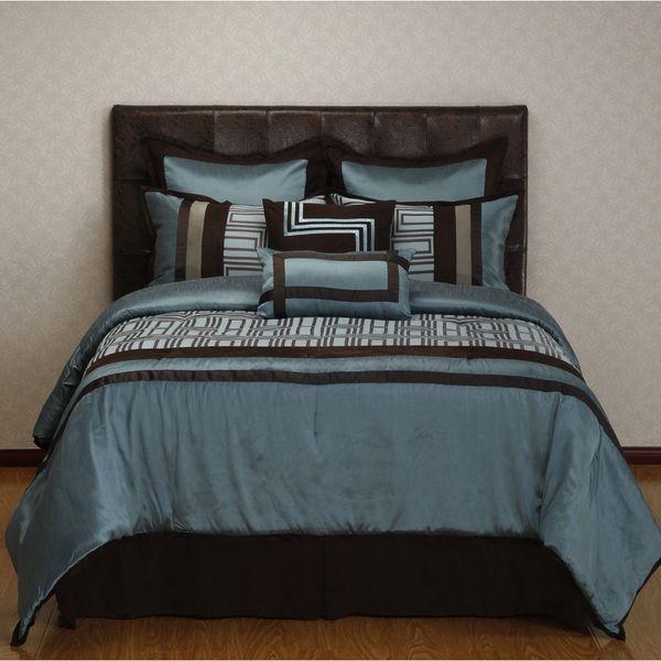 maze blue brown geometric 8piece reversible comforter set