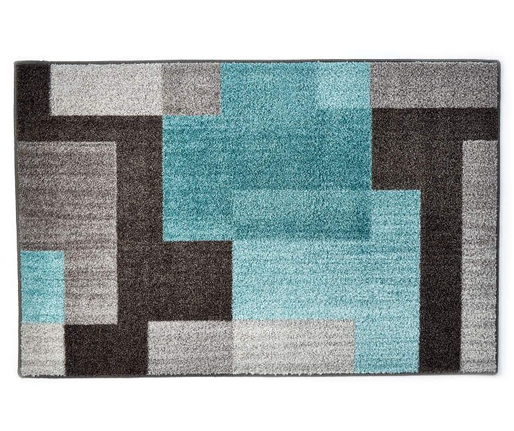 Living Colors Brampton Aqua Accent Rugs With Images Accent