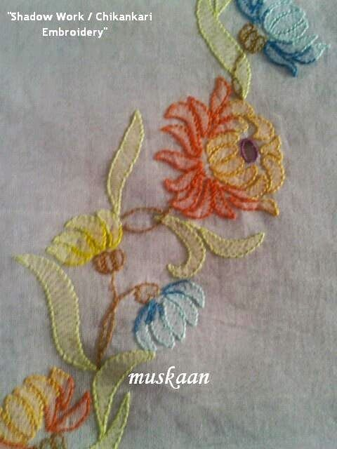 Shadow work chikankari embroidery on an organdy saree shadow work chikankari embroidery on an organdy saree muskaans ti dt1010fo