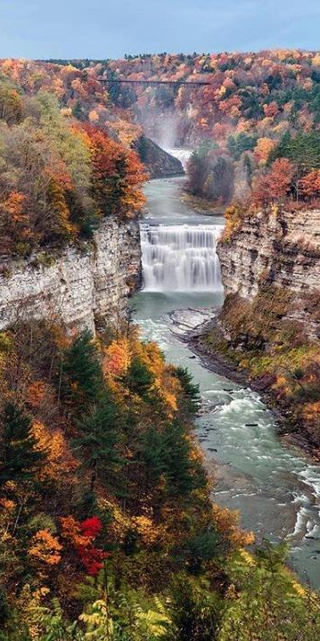 Middle Falls on the Genesee River in Letchworth State Park, Castile, New York, USA #letchworthstatepark