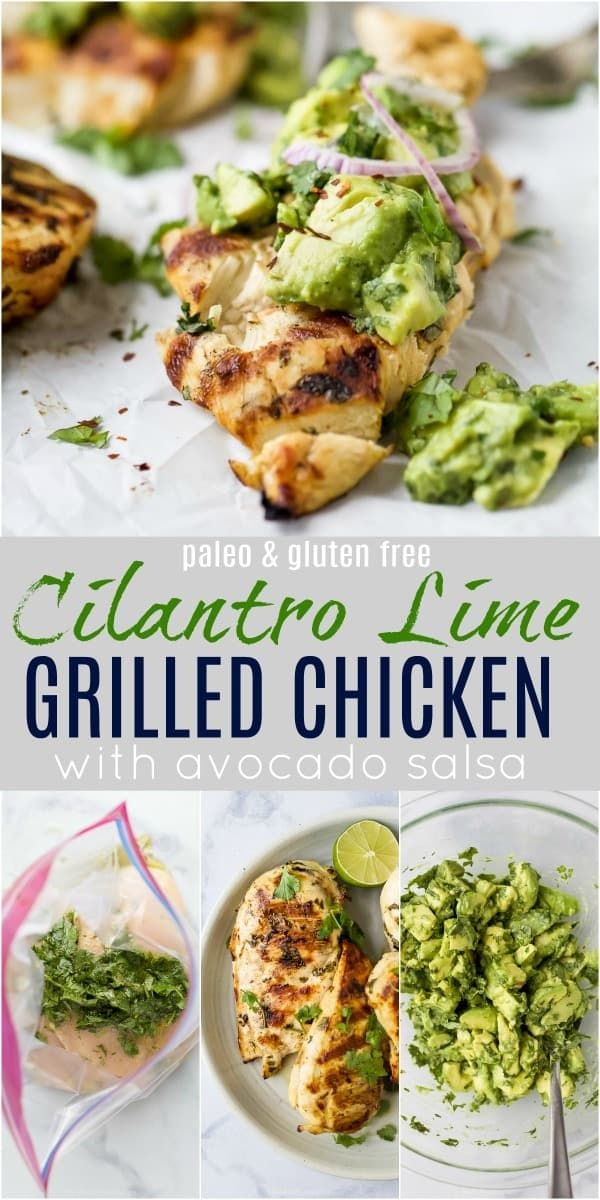 This juicy Cilantro Lime Chicken is the best grilled chicken recipe! Topped with Avocado Salsa, thi