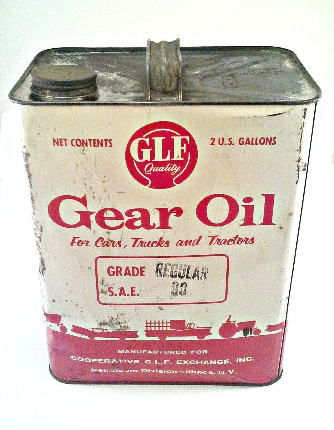 Vintage Glf Quality Gear Motor Oil 2 Gallon Can Empty Oil Can Collectible Tin Can Canning Oils Motor Oil