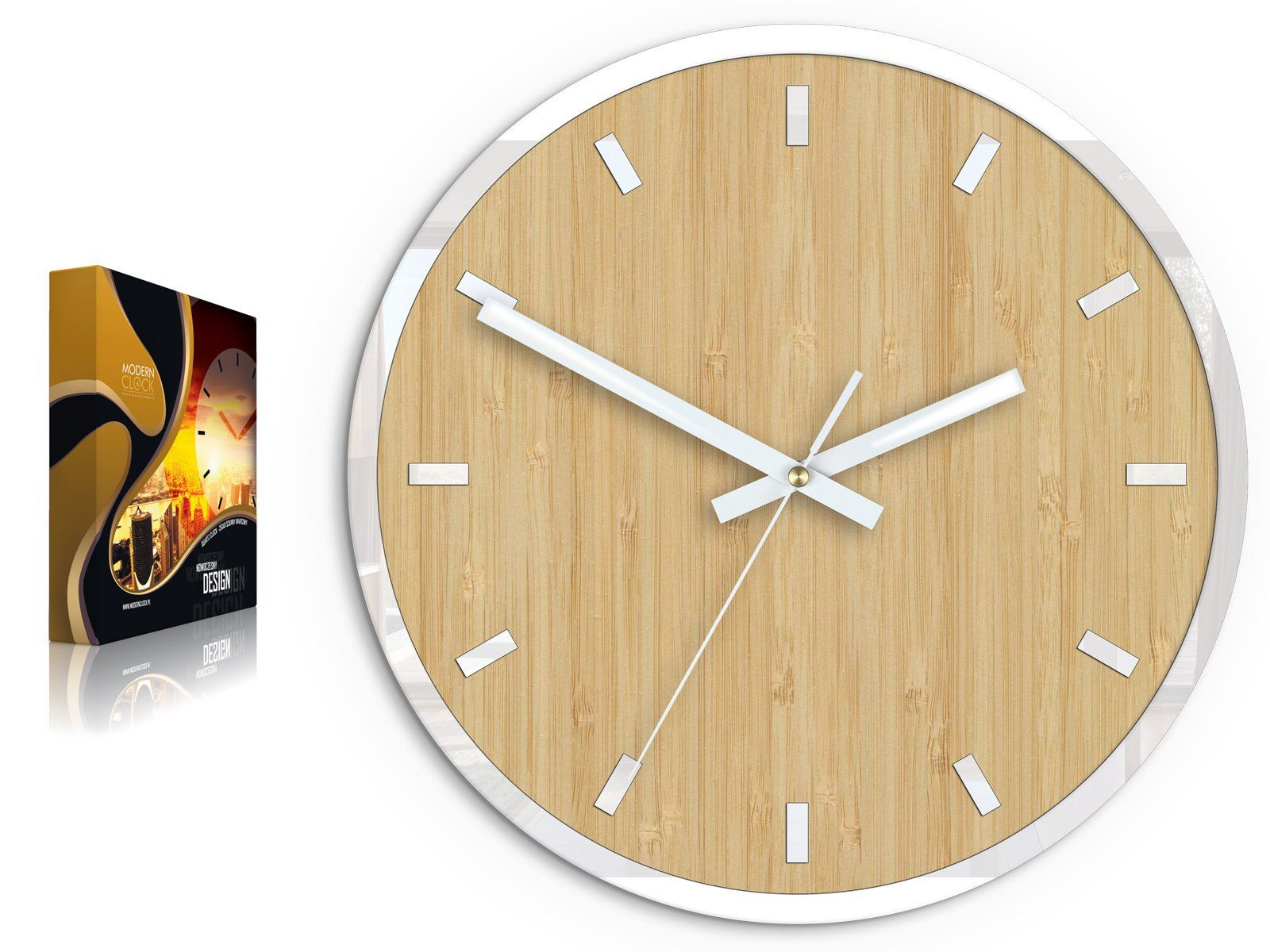 Large Wall Clock Bamboo With White Accessories Quiet And Etsy Large Wall Clock Wall Clock Clock