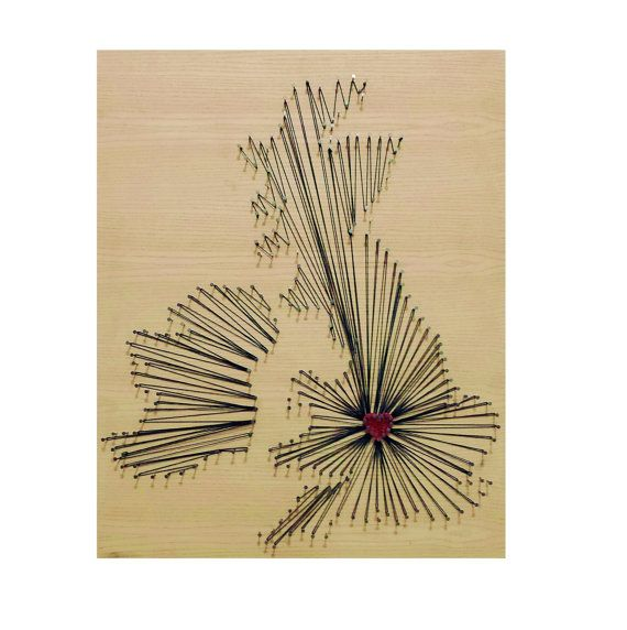 UK Map Thread & Nail Art Board | Nail and String | Stained Wood ...