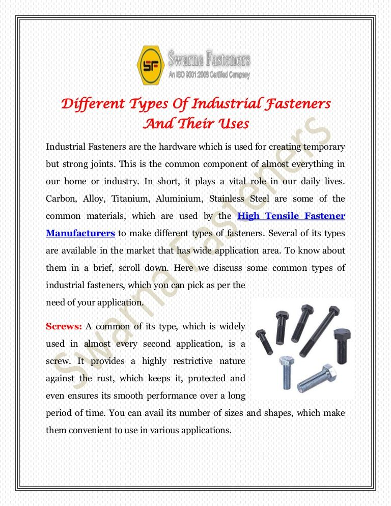 Different Types Of Industrial Fasteners And Their Uses