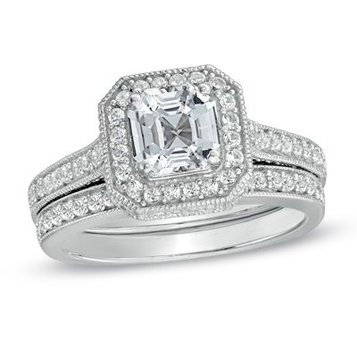 60mm Princess Cut Lab Created White Sapphire Fashion Ring In Sterling Silver