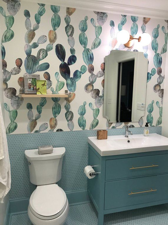 Awesome Cactus Removable Wallpaper Metallic Look Cactus Etsy In 2021 Bathroom Decor Kid Bathroom Decor Amazing Bathrooms