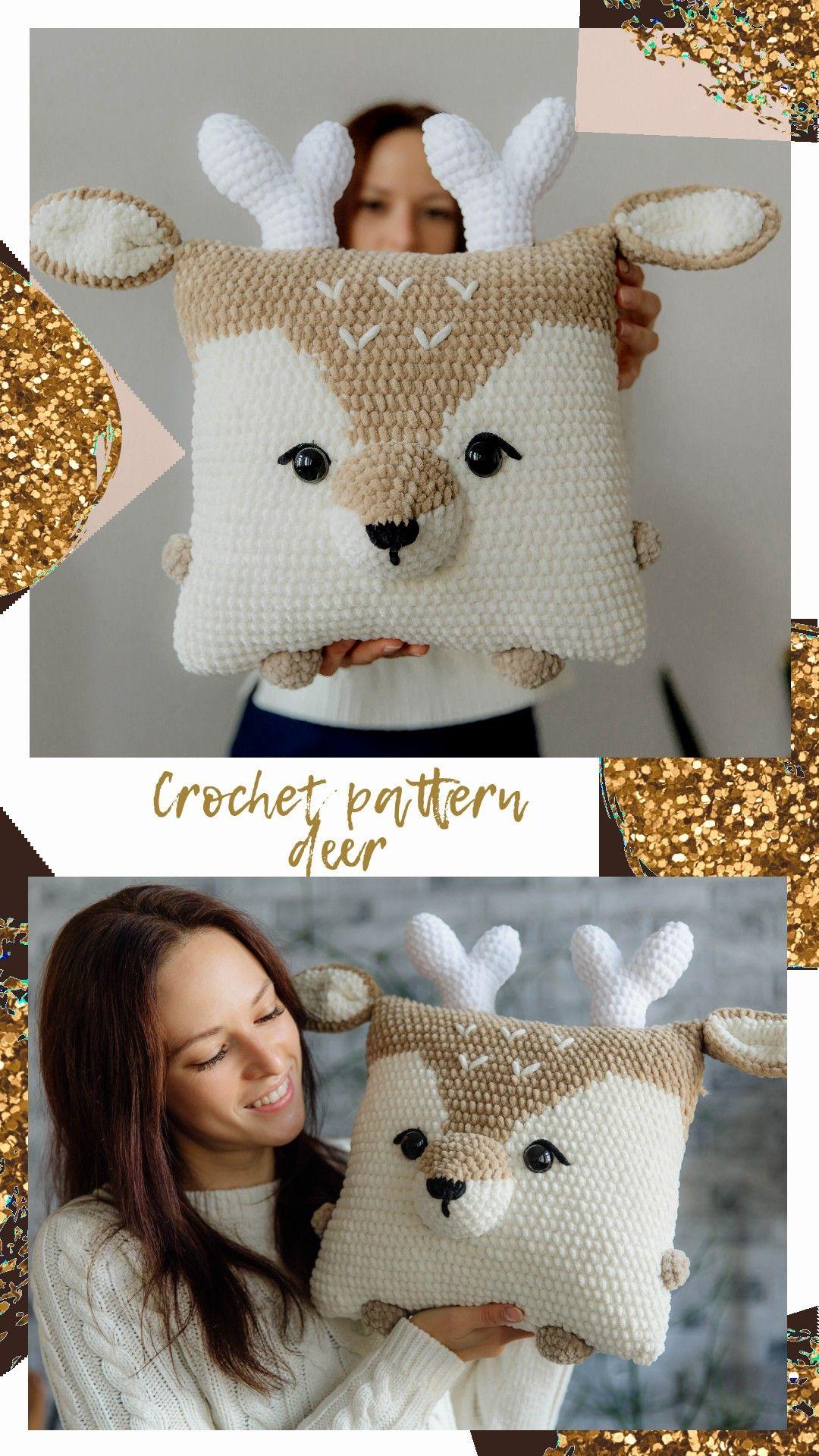 Crochet raindeer, christmas deer pattern, amigurumi deer, crochet christmas, crochet decor pillow