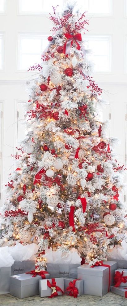 Classic Red  White Christmas Style Series Christmas tree