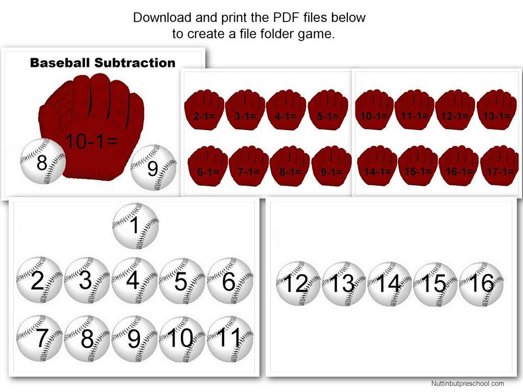 Baseball Subtraction 1 16 File Folder Game