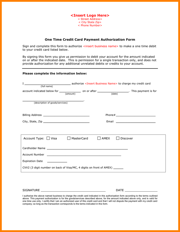 Payment Authorization Form Time Credit Card New Feature Collect