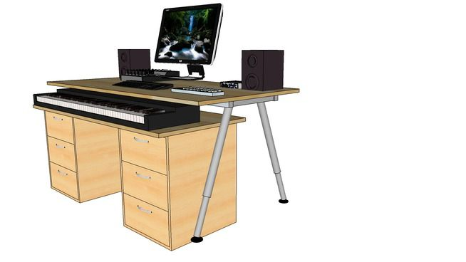 ikea based home studio desk for 88 keys digital piano 3d warehouse sketchup aufnahmestudio. Black Bedroom Furniture Sets. Home Design Ideas