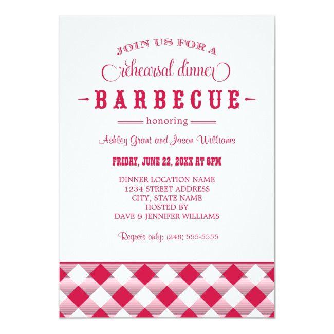 Rehearsal Dinner BBQ | Red Gingham Invitation | Zazzle.com