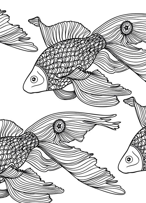 fish coloring page art therapy sam illustraties - Art Therapy Coloring Pages Animals