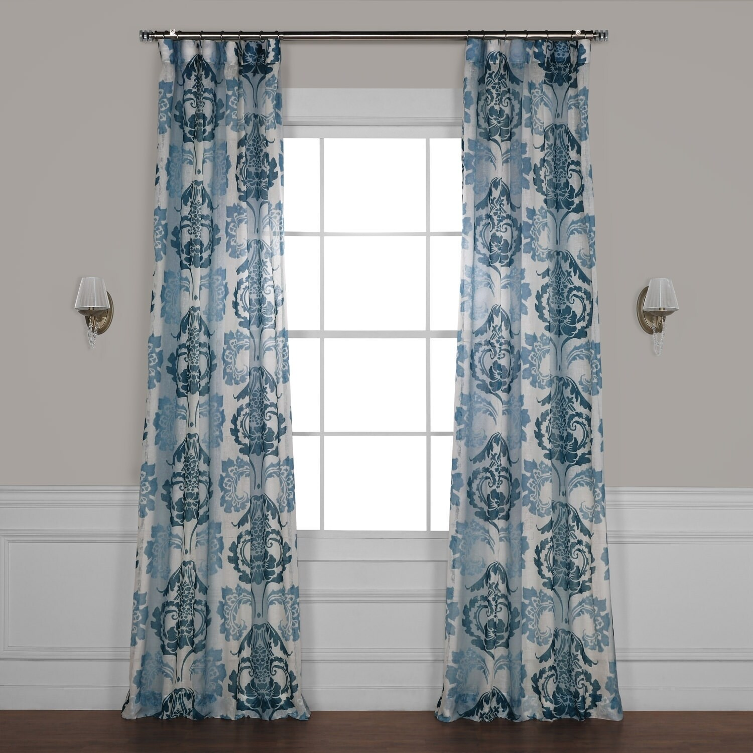 Exclusive Fabrics Damacus Printed Faux Linen Sheer Curtain 50 X