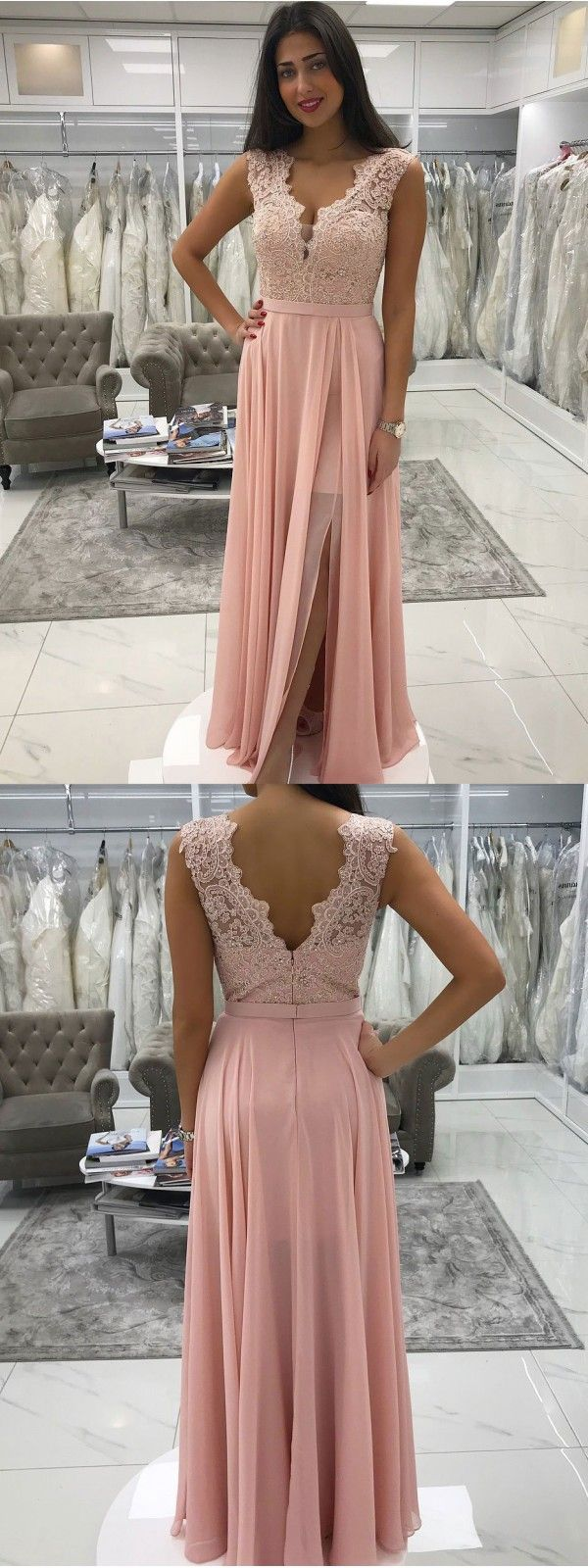 Long chiffon lace beaded prom dresses pink vneck formal dress with