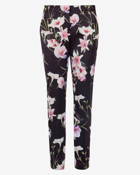 77fd54a0b136 Mirrored Tropics Trousers Black - Ted Baker UK  ExoticPrint  SkinnyFit