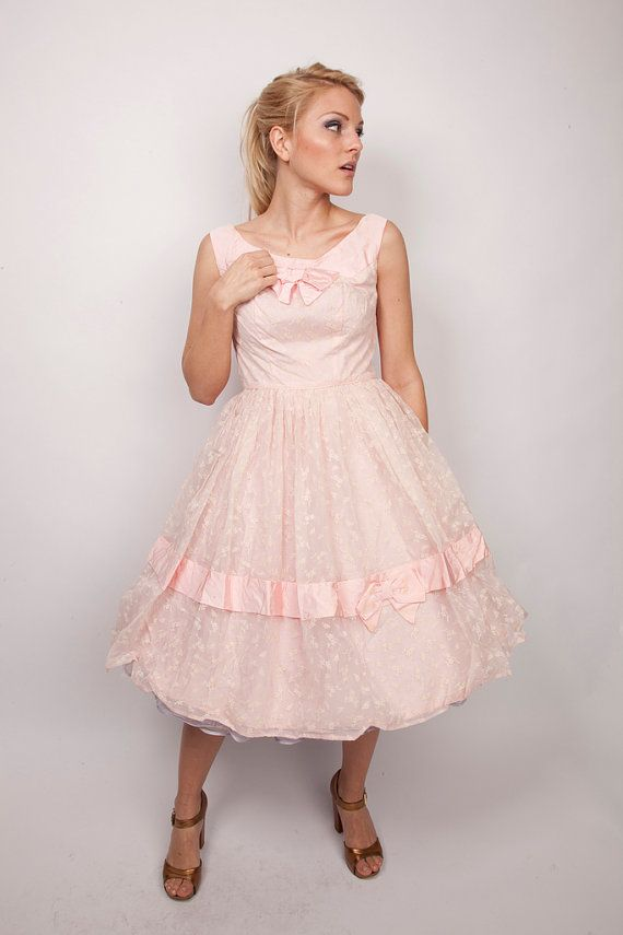1950s Dress / Vintage Pastel Pink  / Bows and Lace /  by aiseirigh