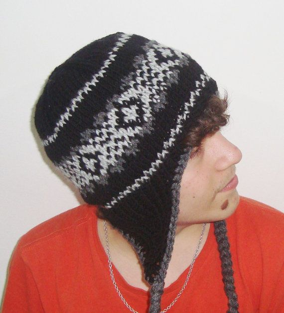 8f7bdfed127 Homemade Hand Knitted Adult Man Hat Wool Ear Flap by earflaphats