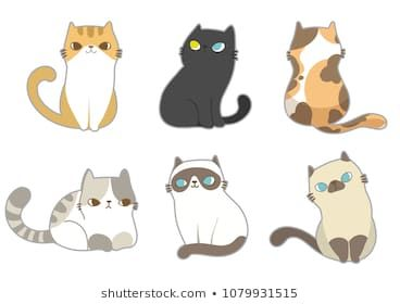 minimalist cats drawing set cat doodles stockvector
