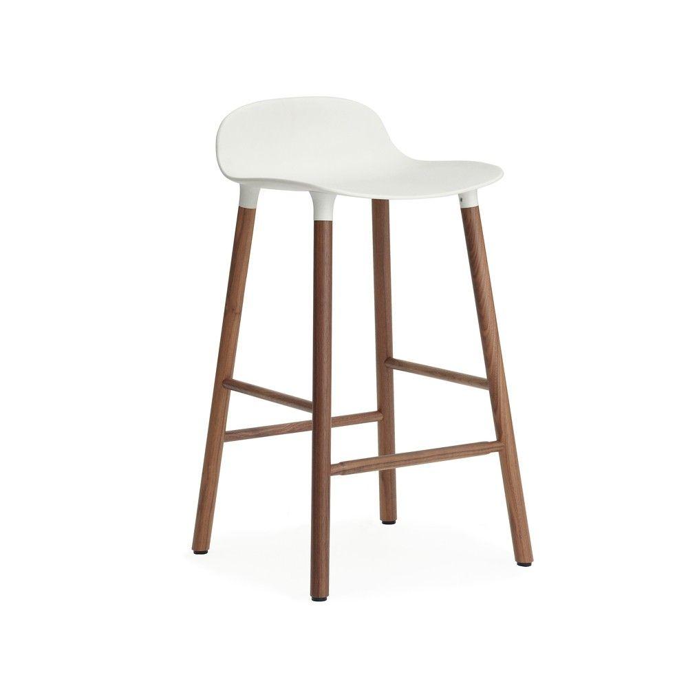 Normann Copenhagen Form Barstool Wood Legs 25 5 In White Walnut