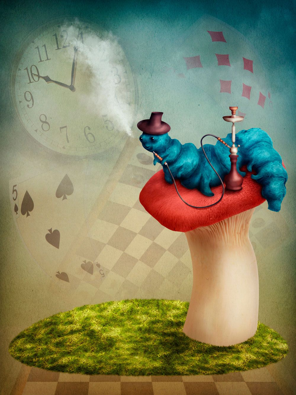 Liven Up Your Wall With This U0027Alice In Wonderland Hookah Smoking  Caterpillaru0027 Feature Wallpaper