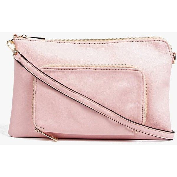 Boohoo Amy Pocket Front Zip Top Clutch Bag ($20) ❤ liked on Polyvore featuring bags, handbags, clutches, blush, envelope clutch bags, envelope clutch, crossbody handbag, pink crossbody and evening handbags